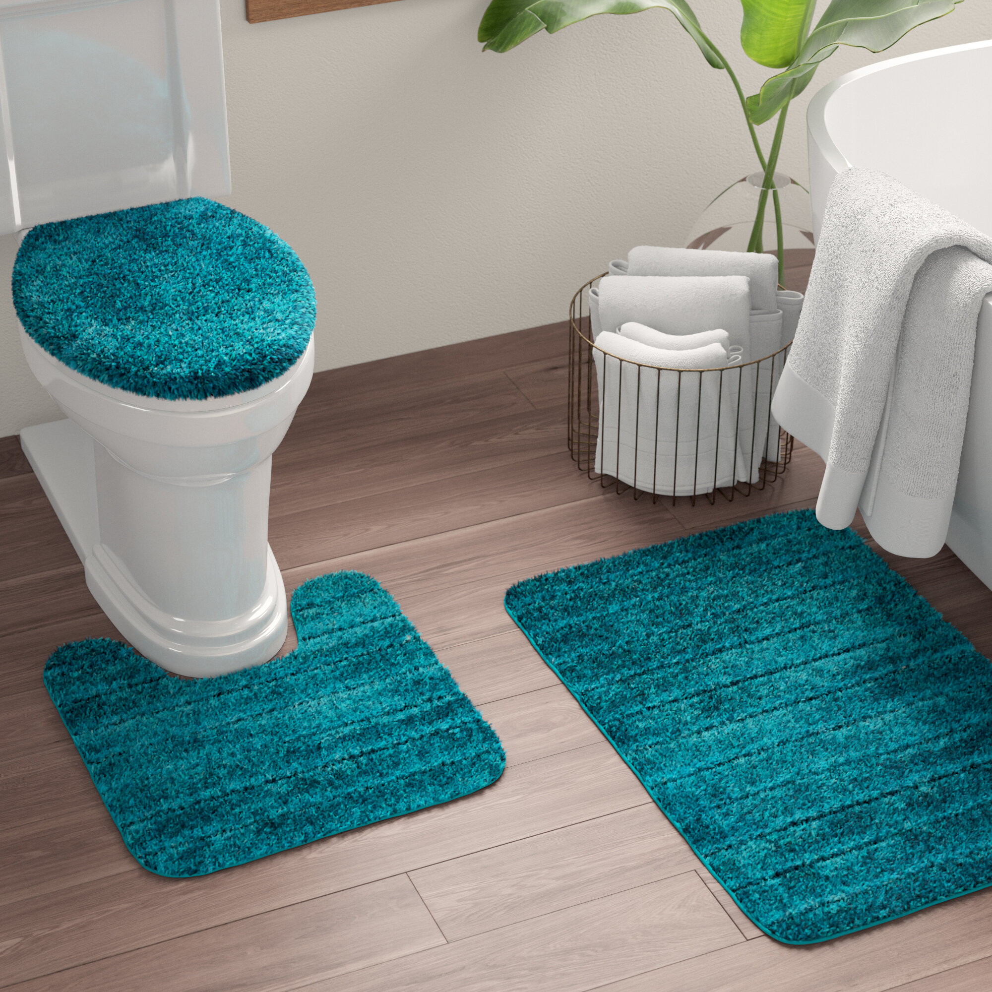 Ocean World U Shaped Toilet Mat with Toilet Lid Cover Home Decor Bathroom Bathroom Mat Sets 3 Pieces
