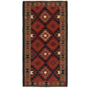 Deals One-of-a-Kind Lorain Hand-Knotted 3'5 x 6'6 Wool Red/Black/Orange Area Rug By Isabelline