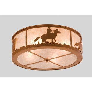 Meyda Tiffany Cowboy and Steer 4-Light Flush Mount