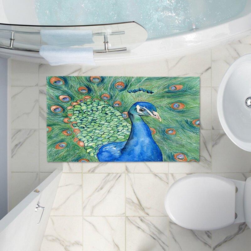 Beau Castillo Splendor Peacock Memory Foam Bath Rug