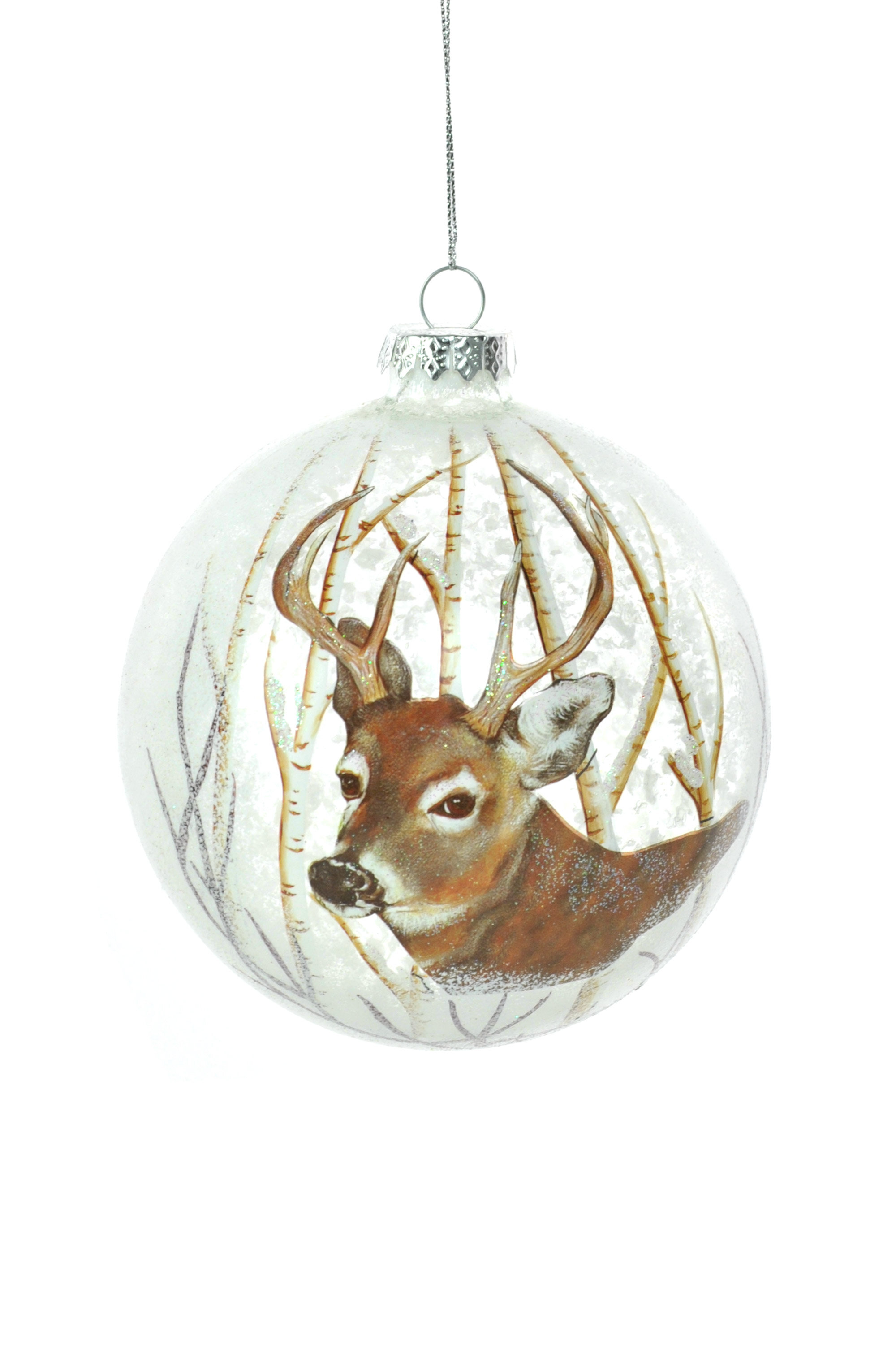 The Holiday Aisle Glass Opaque Ball With Reindeer Ball Ornament Wayfair
