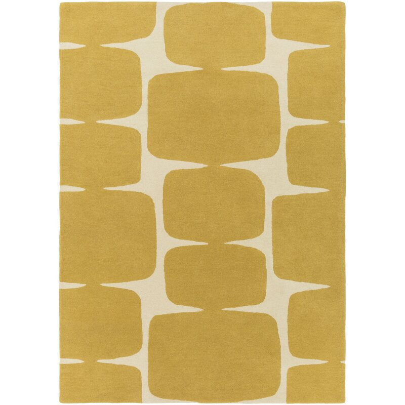 Baltwood Hand Tufted Mustard Cream Area Rug