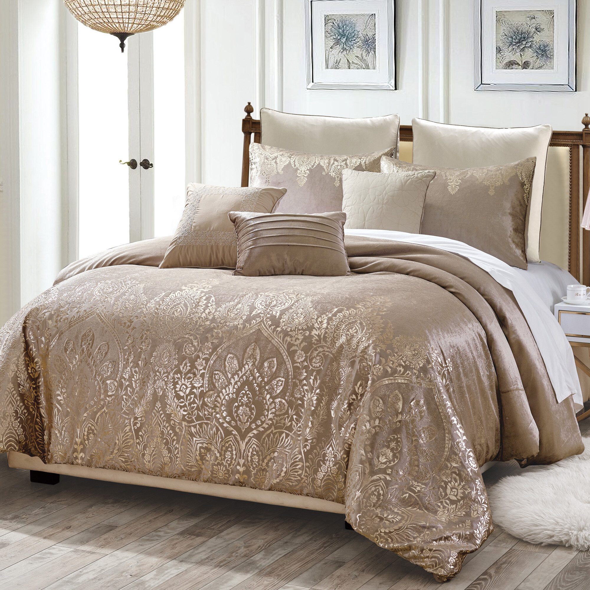 Home Choice Bedding Collection 1000TC Egyptian Cotton Ivory Striped Select Size
