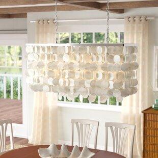 Beachcrest Home Navua Capiz Shell Rectangular 5-Light Kitchen Island Pendant