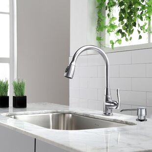 Kraus Premium Faucets Pull Down Single Handle Kitchen Faucet with Optional Soap Dispenser