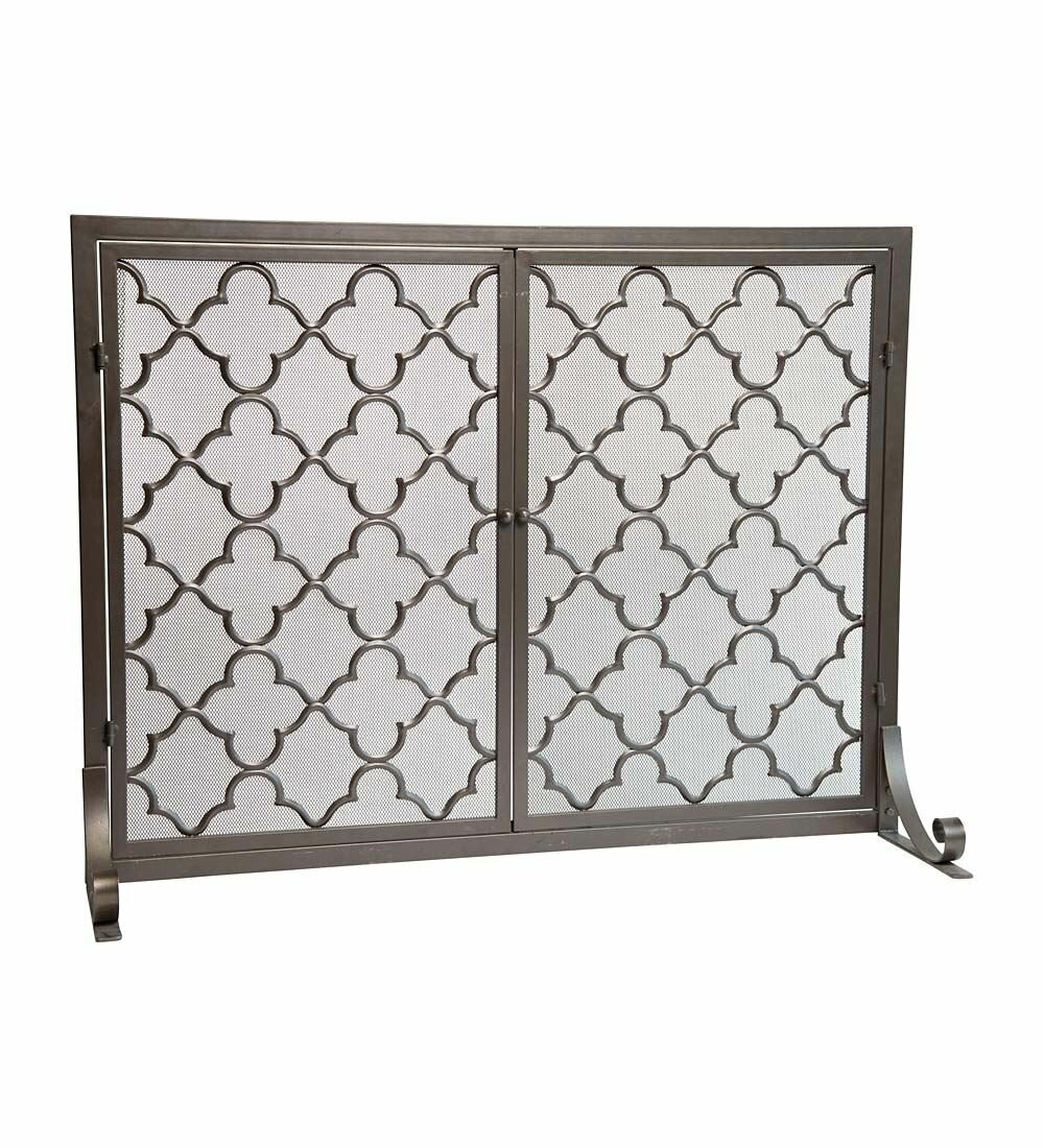 Plow Amp Hearth Geometric Single Panel Steel Fireplace