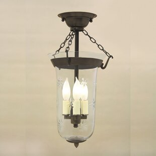 JVI Designs 3-Light Bell Jar Semi Flush Mount with Star Glass