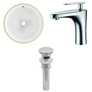 Ceramic Circular Undermount Bathroom Sink with Faucet and Overflow by Royal Purple Bath Kitchen
