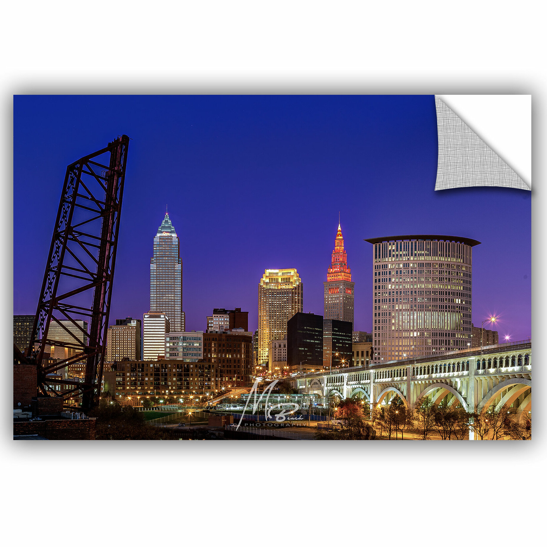 24 by 36 ArtWall Cody Yorks Cleveland Skyline 12 Appeelz Removable Graphic Wall Art