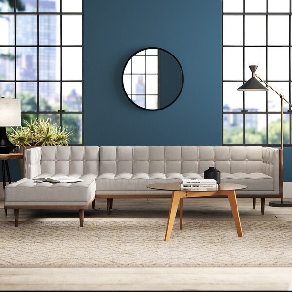 Contemporary Tan Leather Sectional