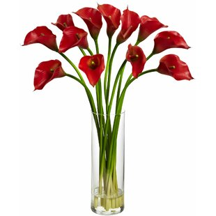 Modern contemporary artificial flowers with vases allmodern mini calla lily silk flower arrangement with vase mightylinksfo