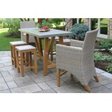 Caelan 7 Piece Teak Dining Set with Sunbrella Cushions