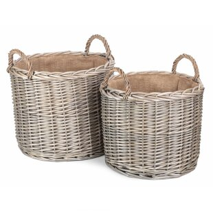 Edgao Rattan Log Carrier (Set Of 2) By August Grove