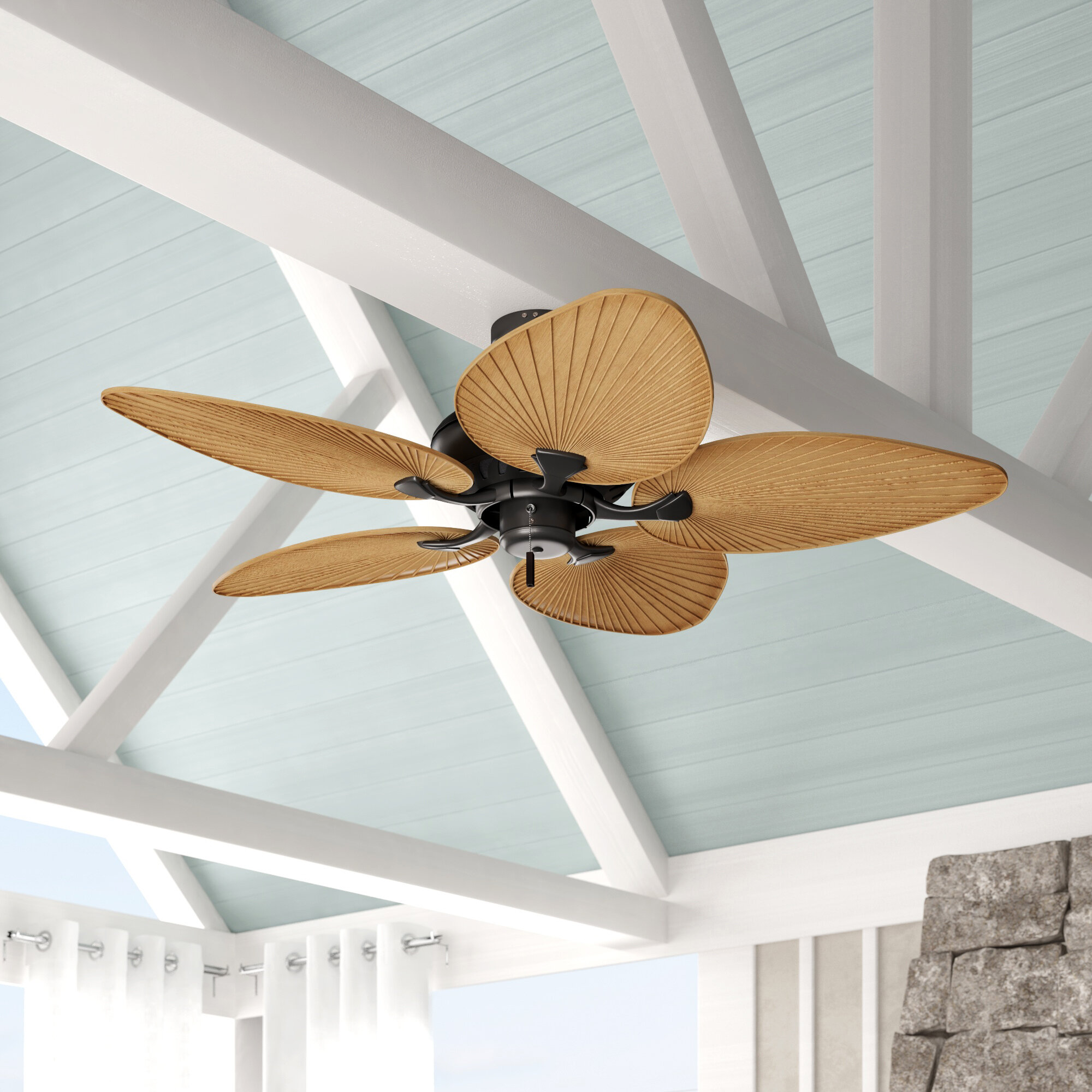 Bay Isle Home 52 Mccall 5 Blade Leaf Blade Ceiling Fan With Pull Chain Reviews Wayfair