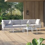 Lynch 4 Piece Sectional Seating Group with Cushions by Mercury Row