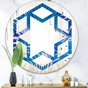 Hexagon Star Floral X Coastal Wall Mirror by East Urban Home