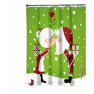 Kissing Mr. and Mrs. Santa Claus Christmas Fabric Single Shower Curtain