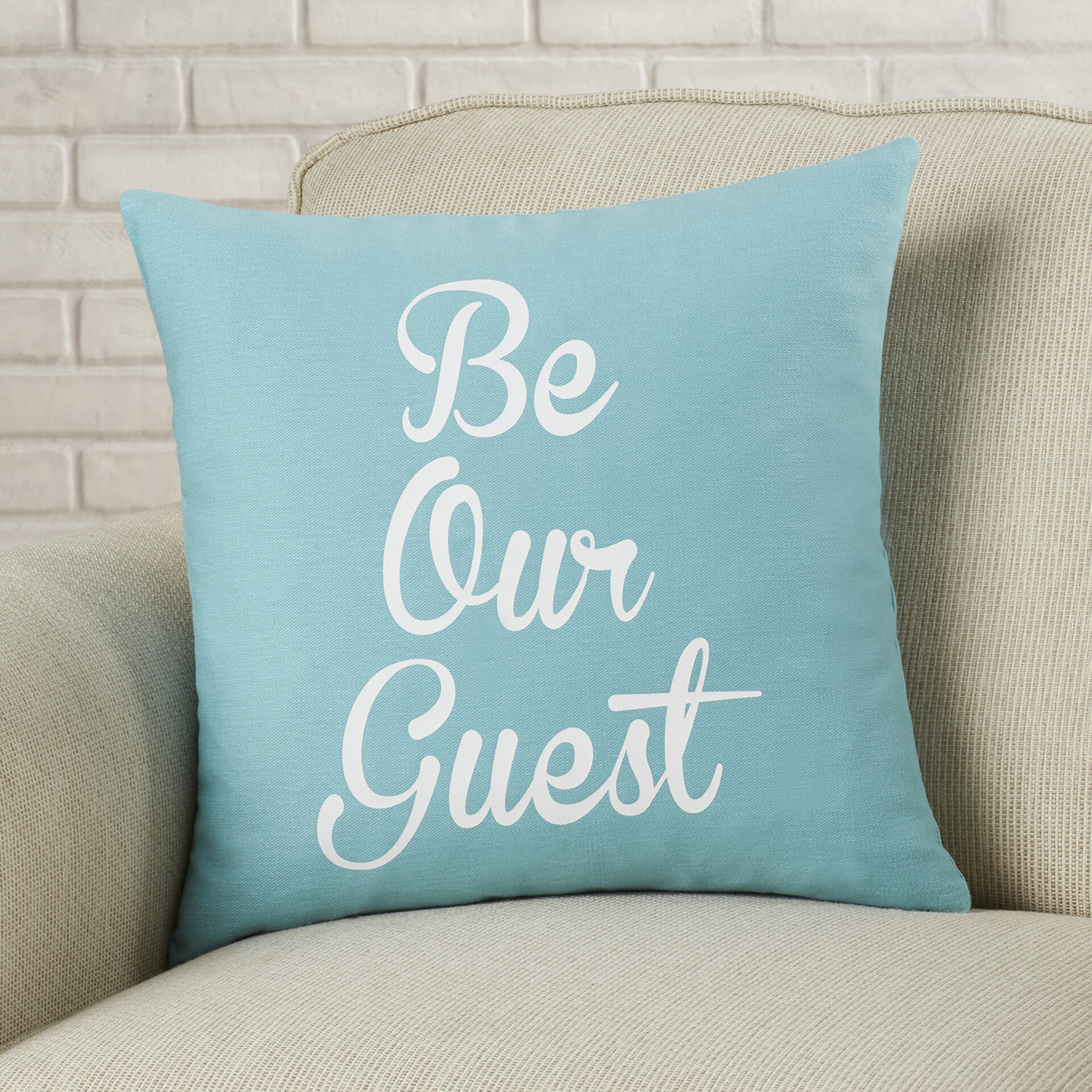 Brayden Studio Maziarz Be Our Guest Cotton Throw Pillow Reviews