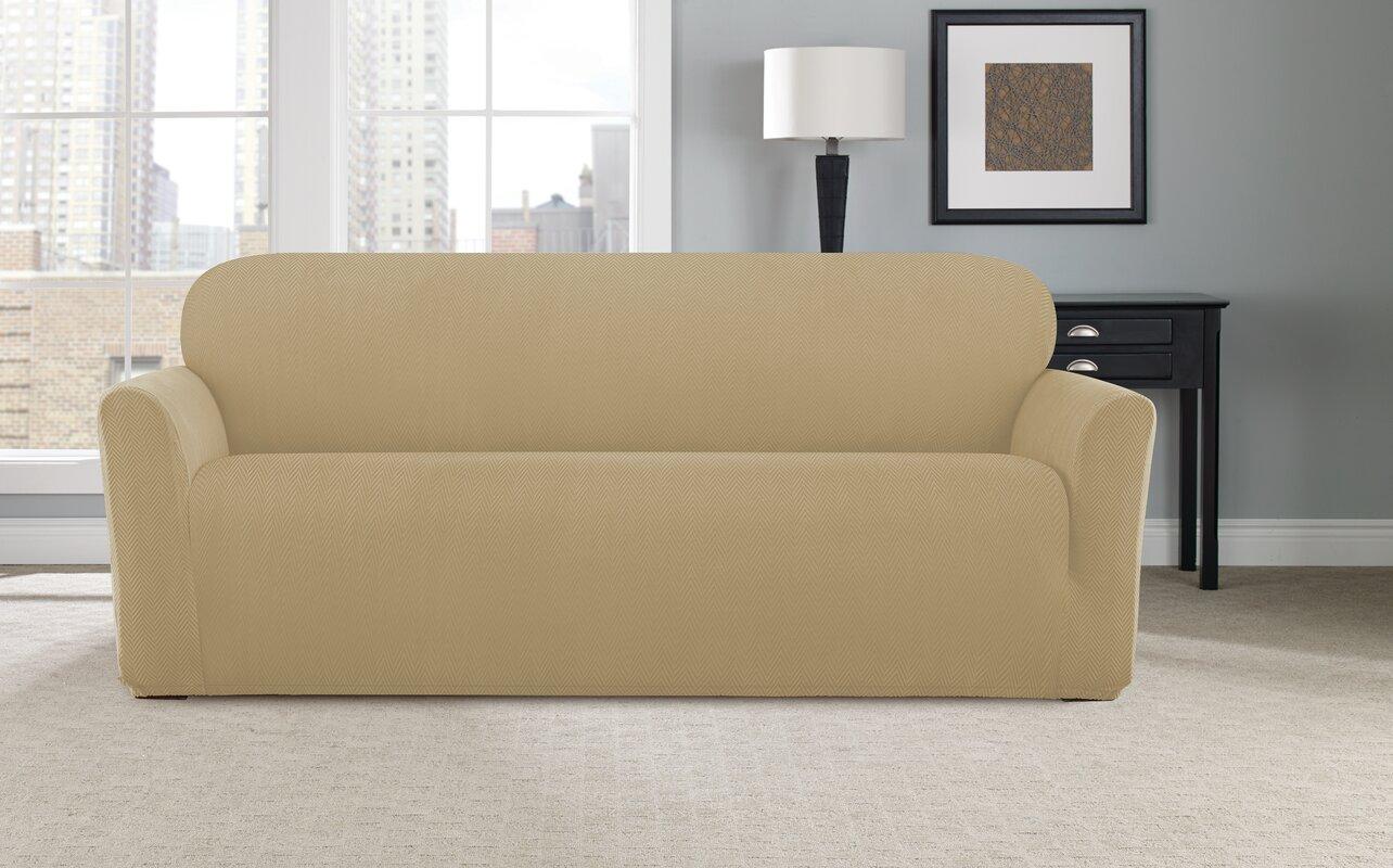 Stretch Modern Chevron Box Cushion Sofa Slipcover By Sure Fit
