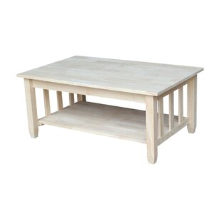 International Concepts Unfinished Wood Mission Coffee Table with Lift Top