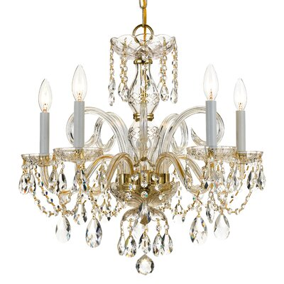 5-Light Polished Polished Brass Chandelier Candle Lights New In box