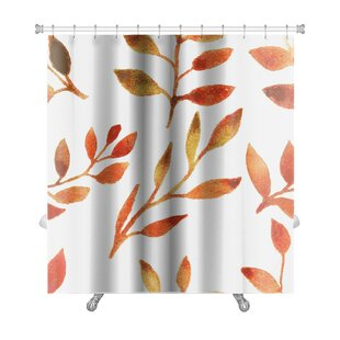 Leaves Autumn Watercolor Leaf Pattern Premium Single Shower Curtain