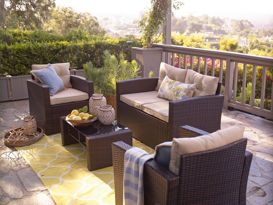 Raven 4 Piece Seating Group with Cushion - Alcott Hill Raven 4 Piece Seating Group With Cushion & Reviews