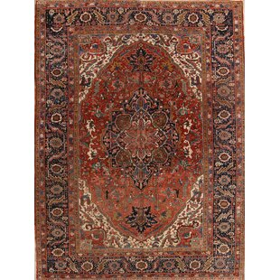 One-of-a-Kind Lauria Classical Heriz Persian Hand-Knotted 8'6 x 11'4 Wool Red/Blue Area Rug ByIsabelline