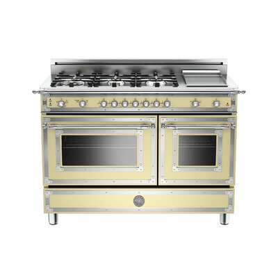 Heritage Series 48 Free-Standing Gas Range with Griddle Bertazzoni Color: Cream