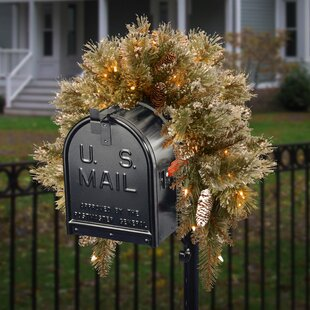 Pine Pre-Lit Mailbox Swag with 35 Battery Operated LED Lights