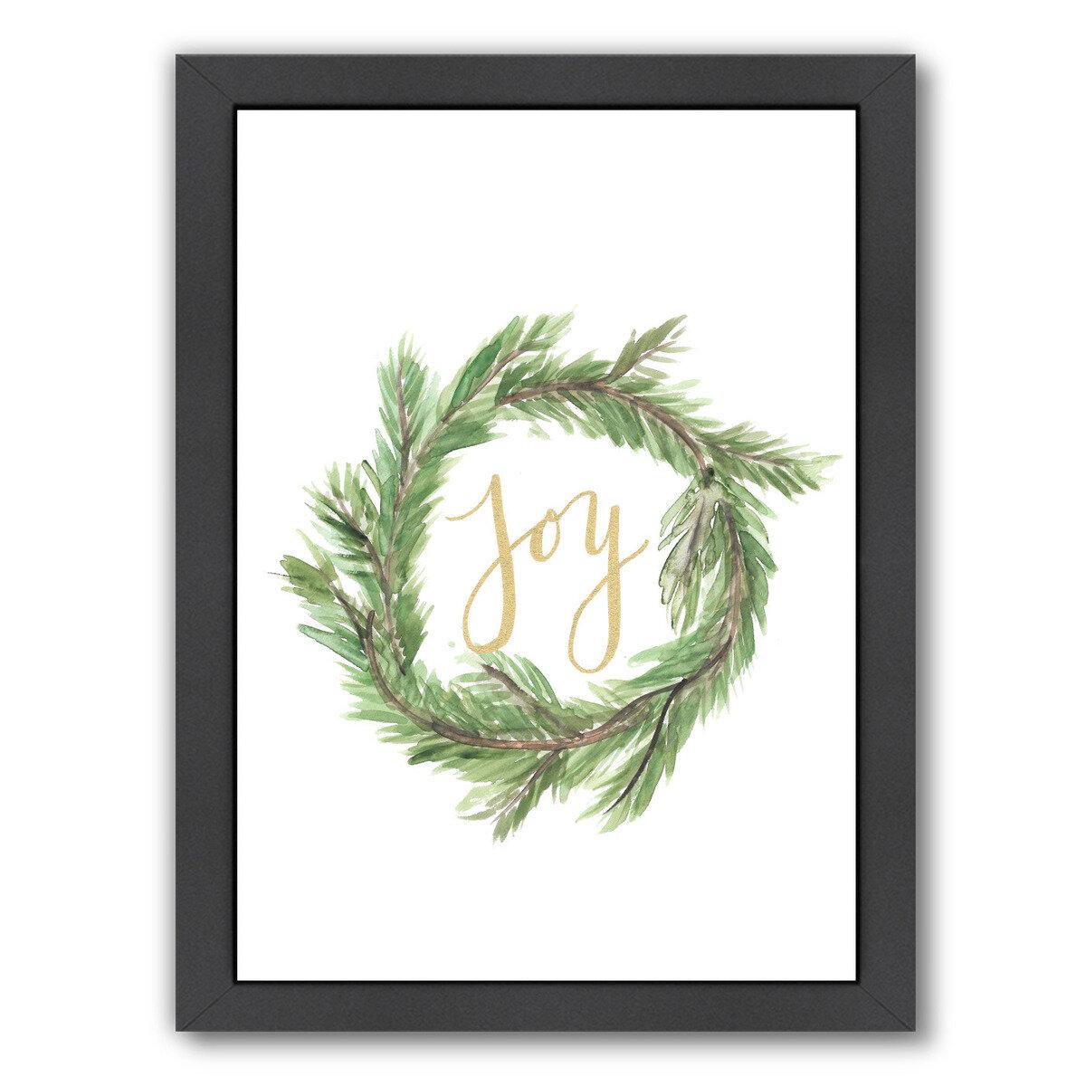 Laurel Foundry Modern Farmhouse Wreath Joy Textual Art Reviews Wayfair