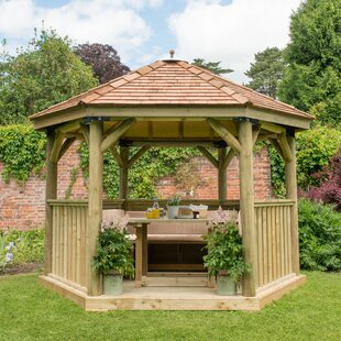 Furnished 3.8m X 3.3m Wooden Gazebo With Cedar Roof By Sol 72 Outdoor