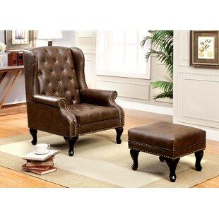 Halvorson Wingback Chair and Ottoman by Fleur De Lis Living