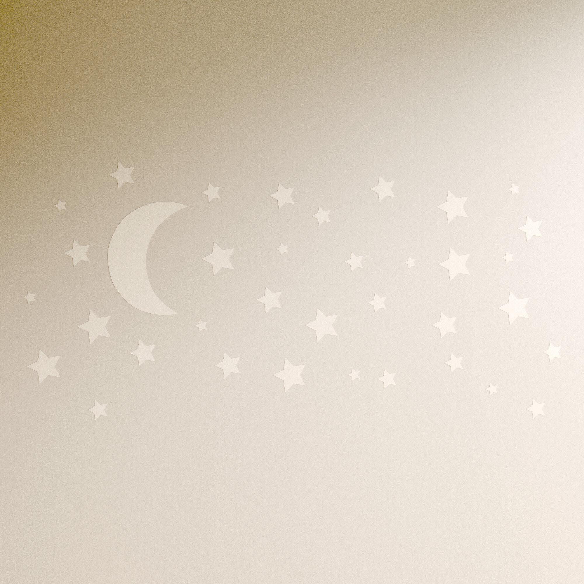 Wall tattoo moon with pattern stars bedroom