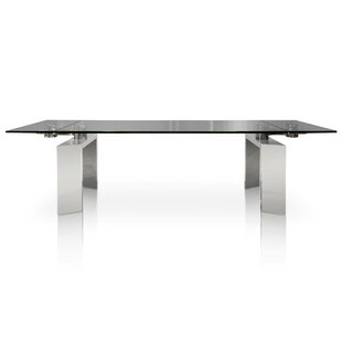 Arche Extendable Glass Top Dining Table Orren Ellis