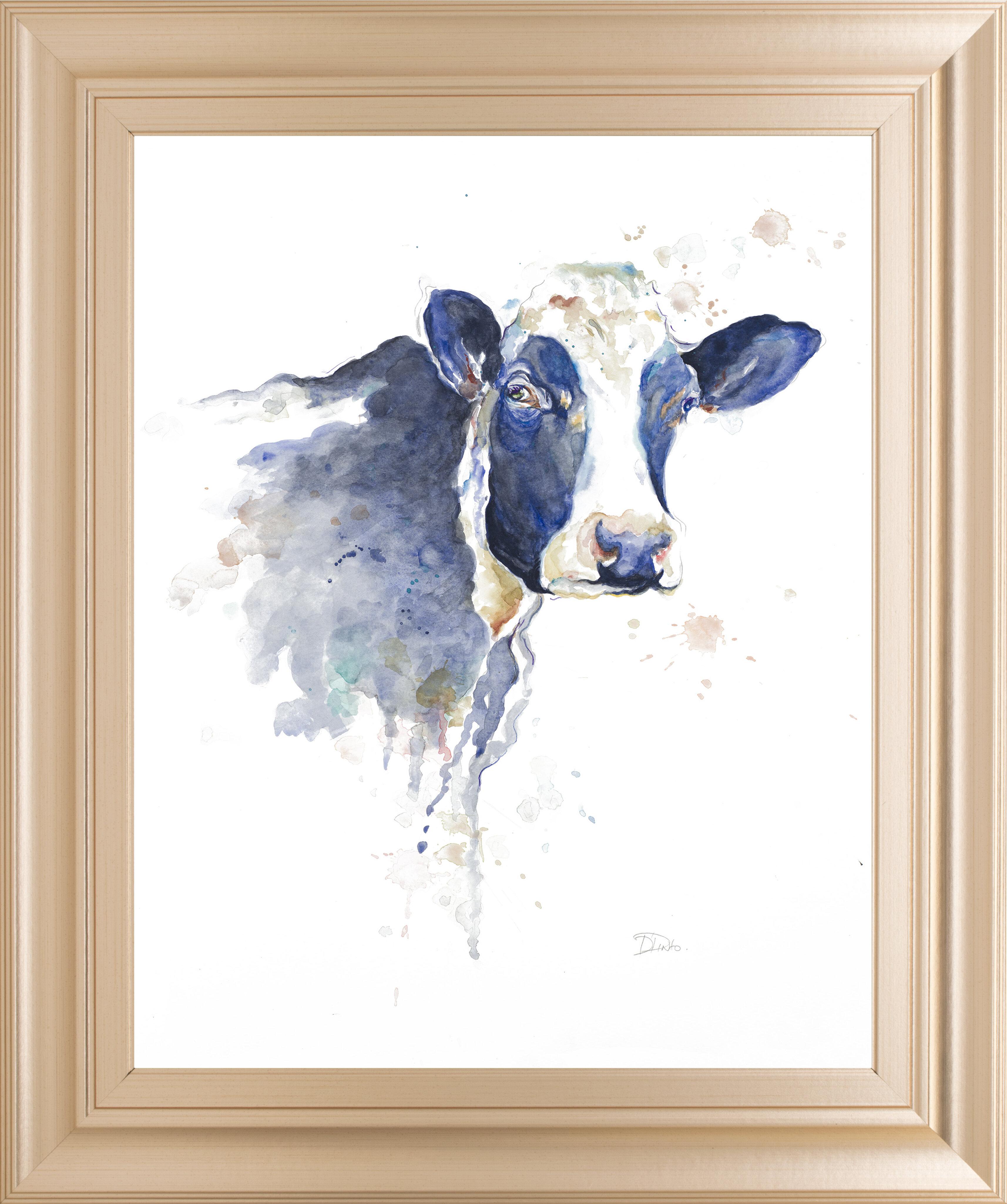 Gracie Oaks Watercolor Blue Cow Framed Watercolor Painting Print Wayfair