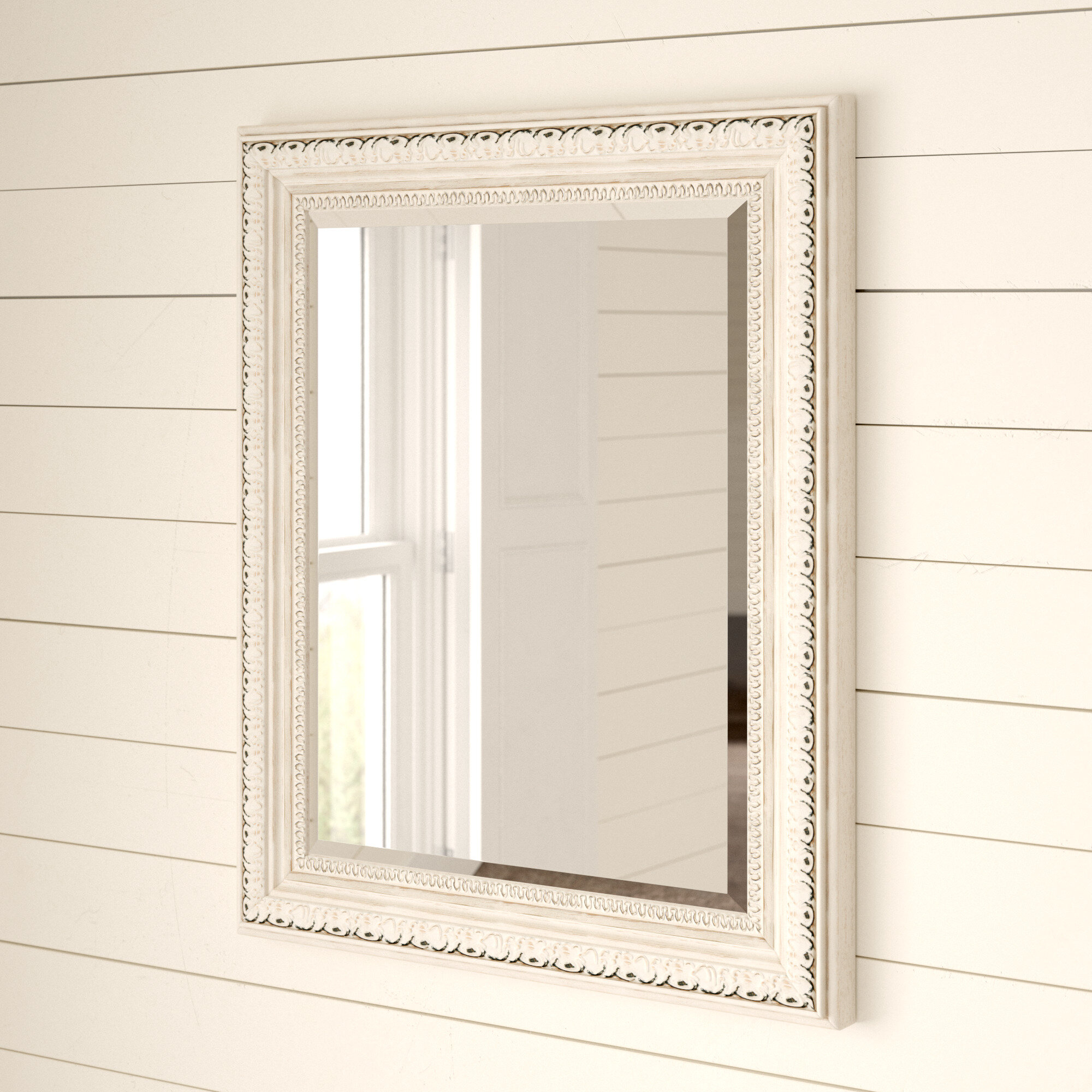 Huffaker Distressed French Victorian Country Accent Wall Mirror Reviews Birch Lane