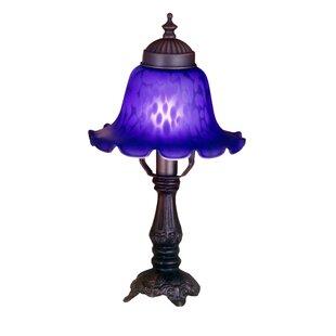 Meyda Tiffany Victorian Blue Bell Shade Mini Table Lamp in Mahogany Bronze