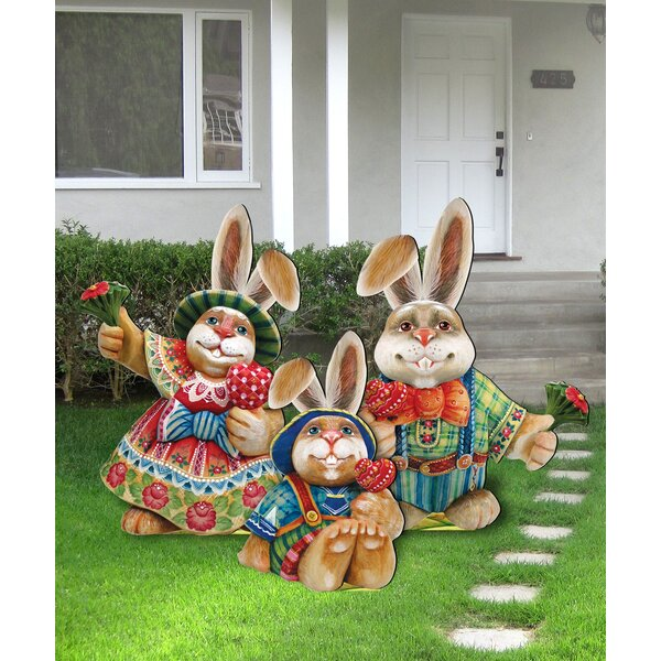The Holiday Aisle 3 Piece Easter Bunny Family Wooden Freestanding Outdoor Lawn Decor Set Wayfair