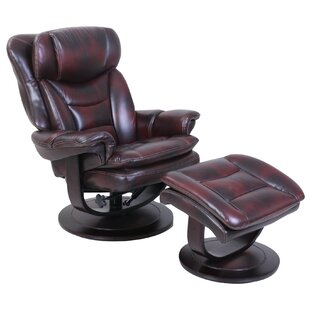 Barcalounger Pedestal Roscoe Ped Manual Swivel Recliner with Ottoman