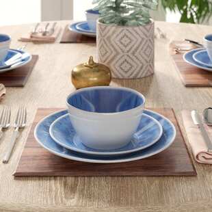 Devere Glaze 12 Piece Melamine Dinnerware Set, Service for 4