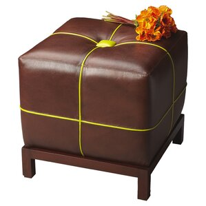 Rachelle Cube Leather Ottoman by Latitude Run
