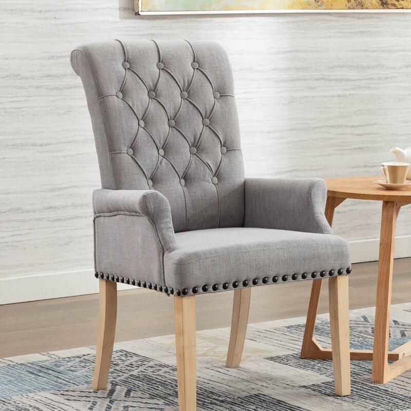 Red Barrel Studio Amdad Tufted Linen Upholstered Arm Chair