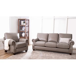DarHome Co Cairnbrook 2 Piece Leather Living Room Set