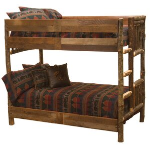 Hickory Bunk Bed with Barnwood Rail by Fireside Lodge