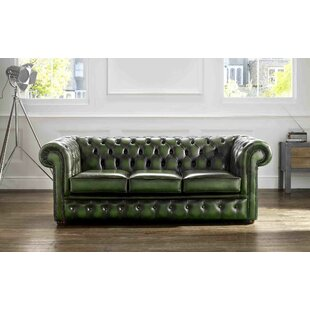 Walsall Genuine Leather 3 Seater Chesterfield Sofa By Williston Forge