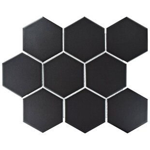 Retro Super Hex 3 73 X Porcelain Mosaic Field Tile In Matte Black