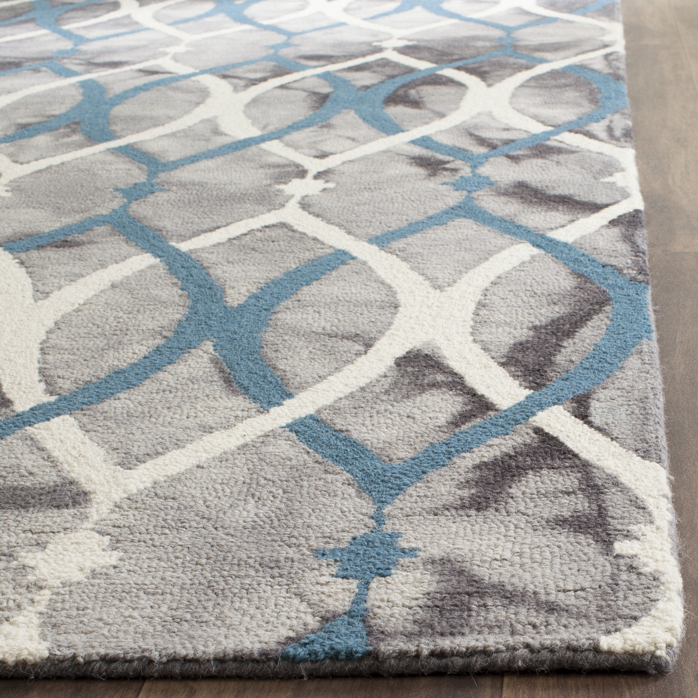 Tufted Wool Gray White Blue