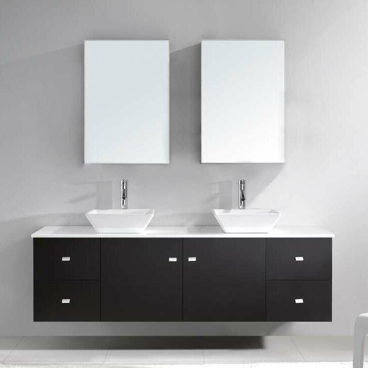 "virtu usa clarissa 72"" double bathroom vanity set with white stone"