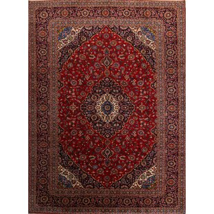 One-of-a-Kind Lococo Medallion Kashan Vintage Persian Hand-Knotted 9'10 x 13'5 Wool Red/Blue Area Rug ByIsabelline